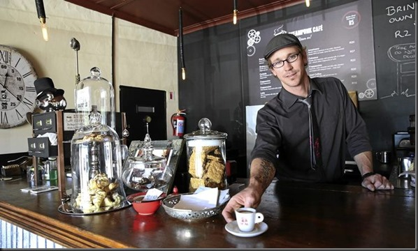 Michael Goddard owner of a steampunkstyle cafe